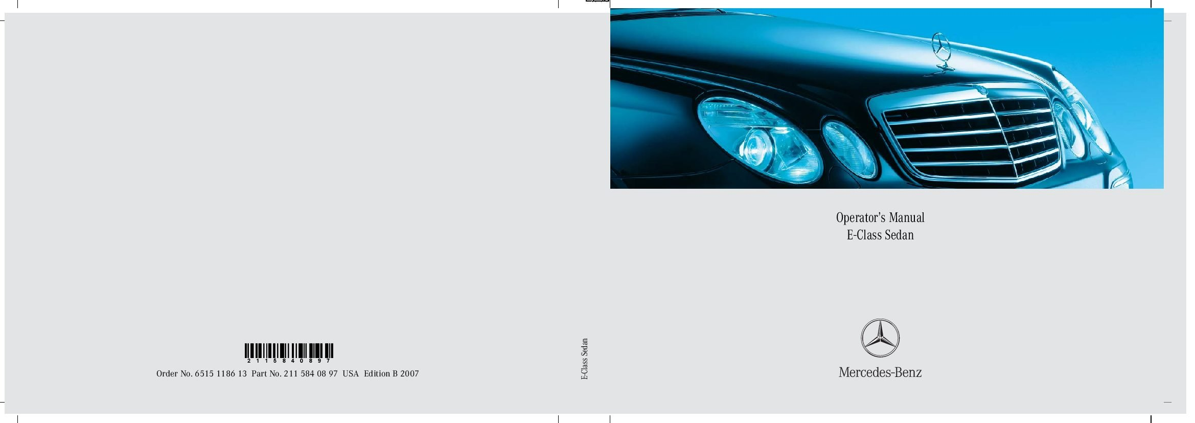 2007 mercedes benz e class owners manual just give me for Mercedes benz e320 service manual