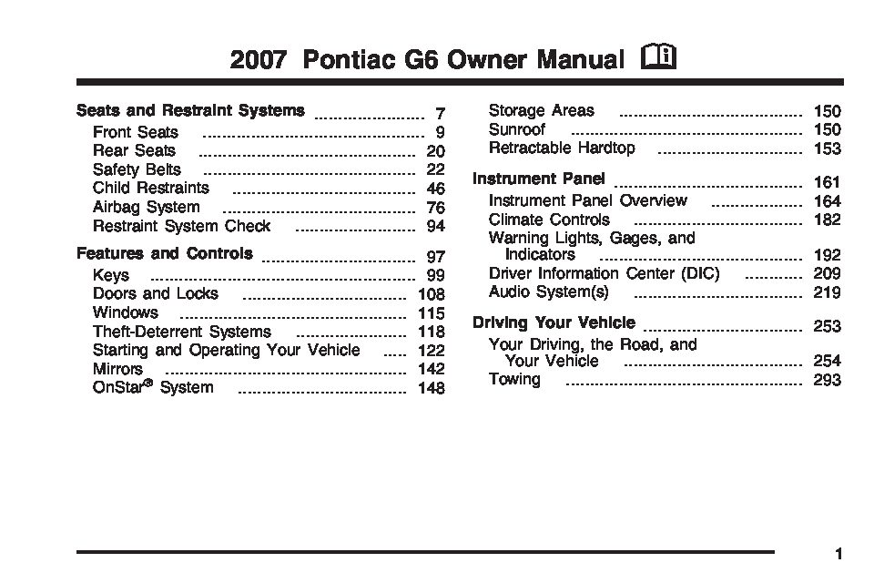 Pontiac G6 Owners Manual 2006 - Various Owner Manual Guide •
