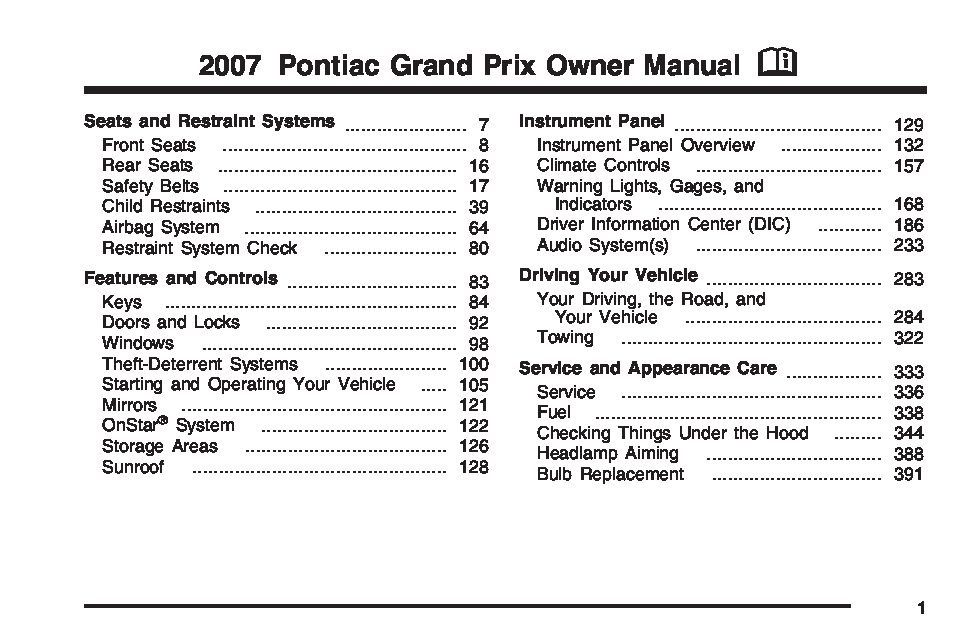 2007 Pontiac Grand Prix Owners Manual Just Give Me The