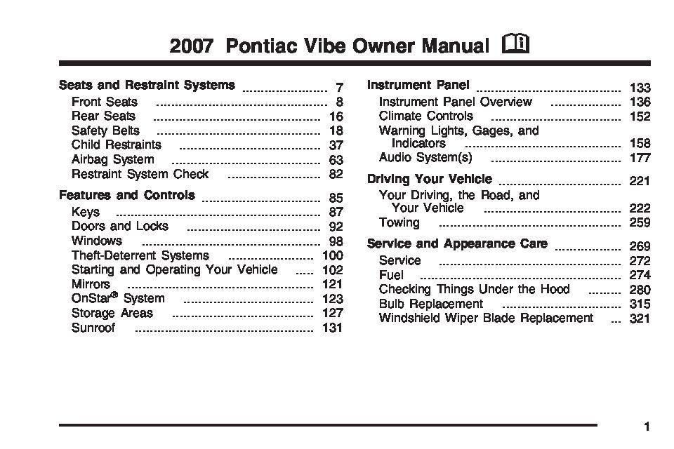 2007 pontiac vibe owners manual just give me the damn manual rh justgivemethedamnmanual com 2008 Pontiac Vibe 2010 pontiac vibe service manual