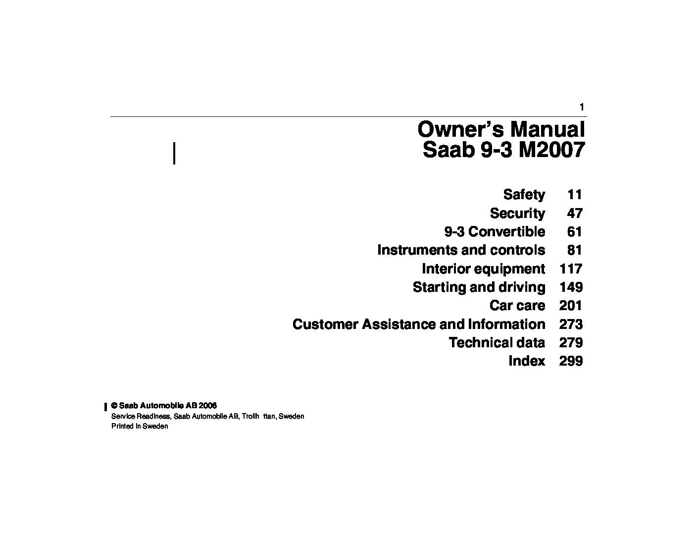 2007 saab 9 3 owners manual just give me the damn manual rh justgivemethedamnmanual com saab 9-3 2008 owners manual pdf 2008 saab 9-3 service manual