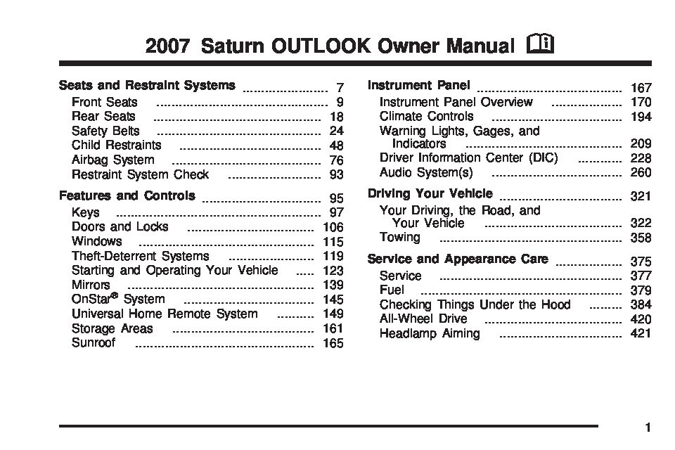 2007 saturn outlook owners manual