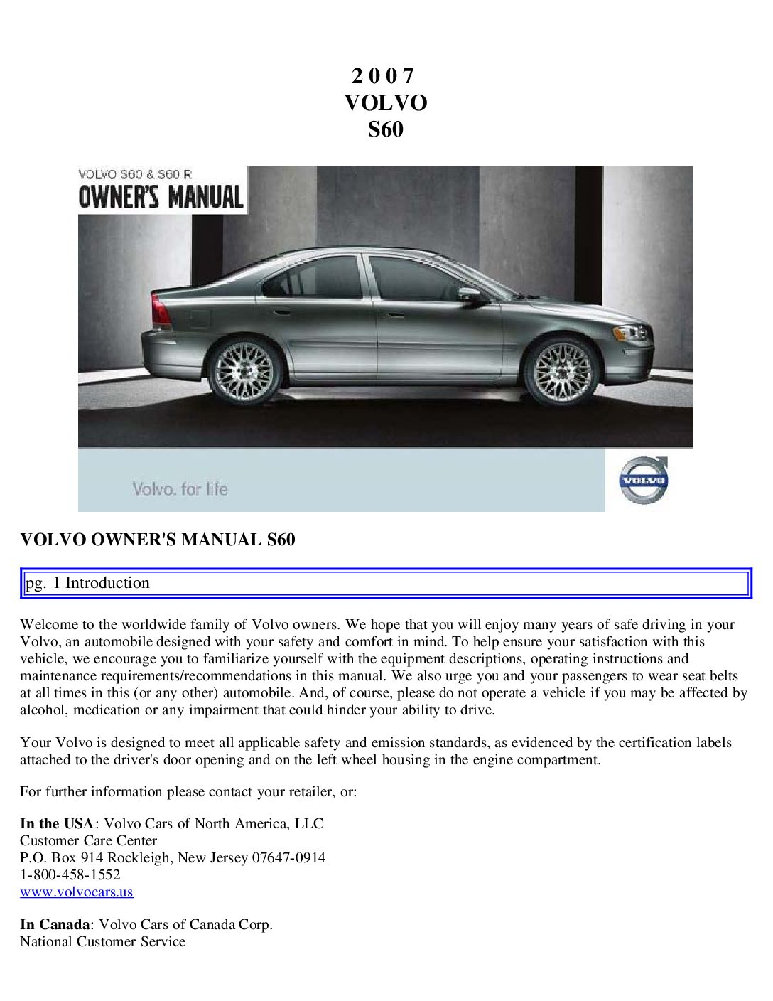 2007 volvo s60 owners manual just give me the damn manual rh justgivemethedamnmanual com volvo s60 2012 owner's manual volvo s60 owner's manual