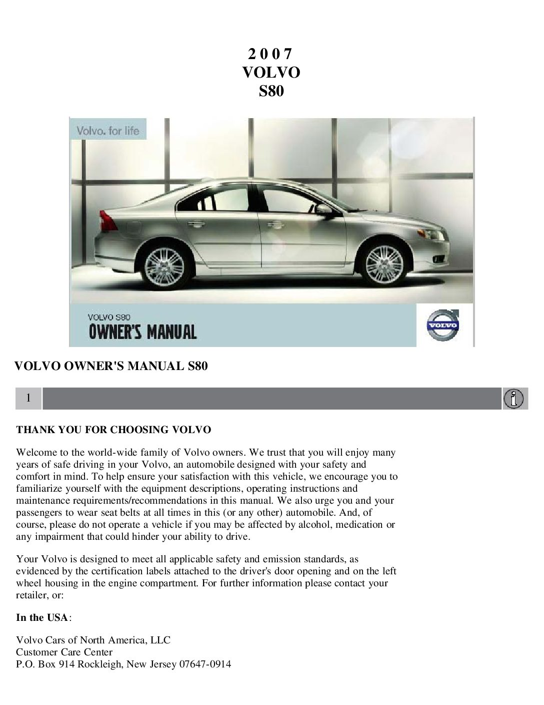 2007 volvo s80 owners manual just give me the damn manual rh justgivemethedamnmanual com 2010 volvo s80 owners manual 2007 volvo s80 owner s manual