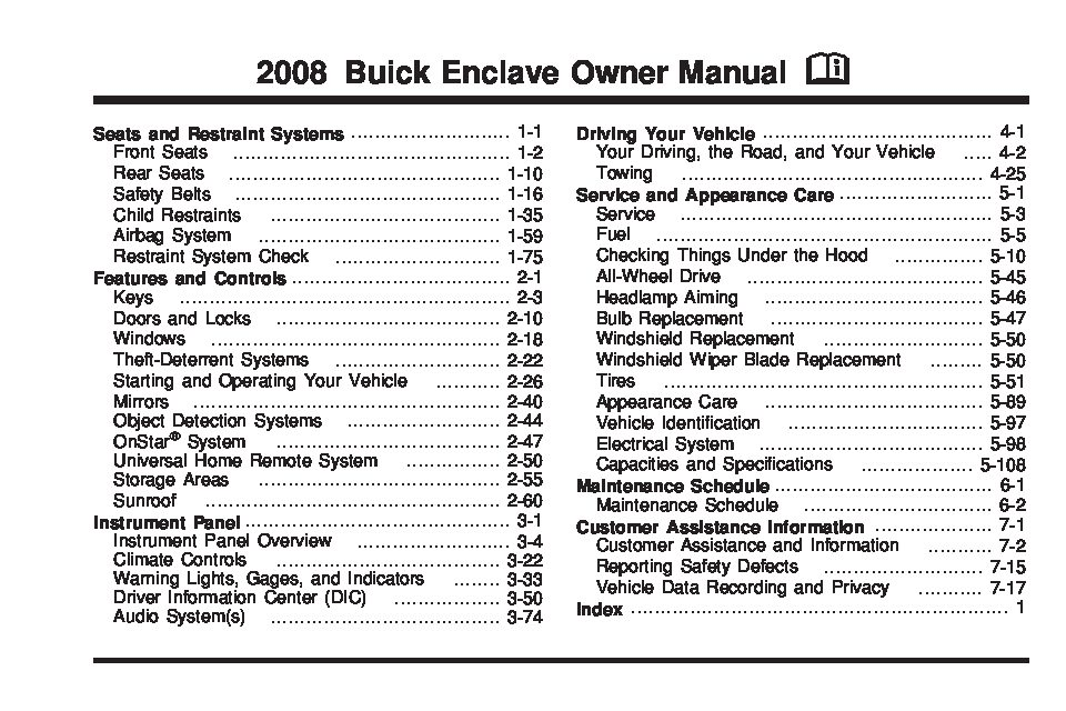2008 buick enclave owners manual just give me the damn manual rh justgivemethedamnmanual com 2008 buick enclave cxl owners manual 2008 buick enclave owner's manual free