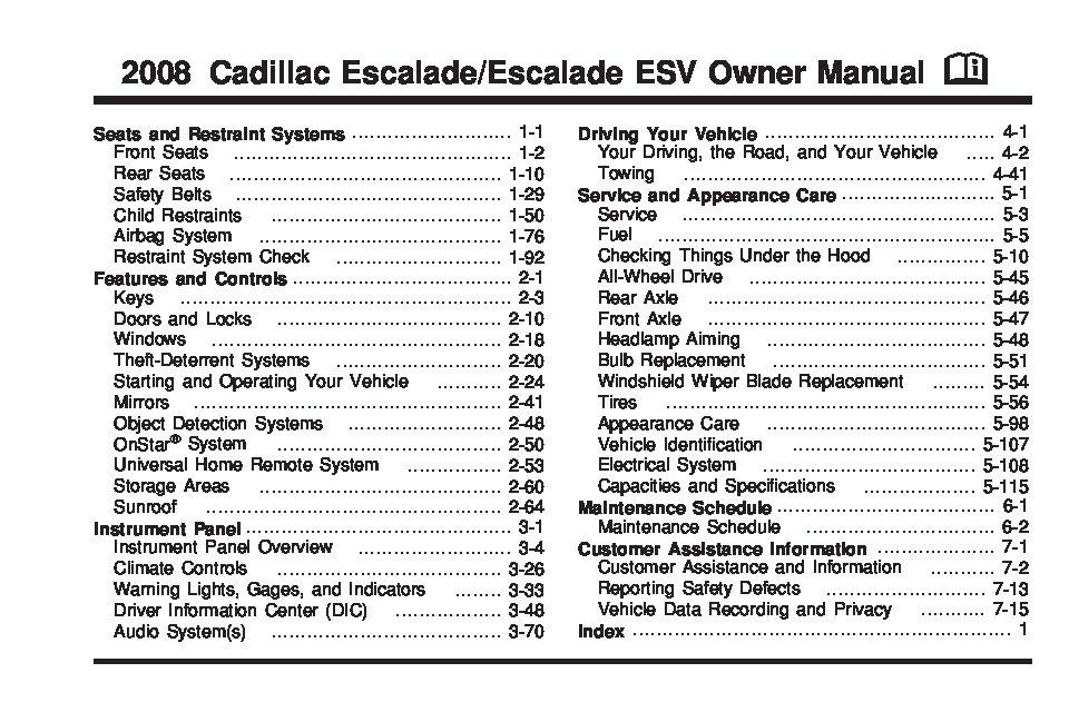 2008 cadillac escalade premium owner s manual owners manual just rh justgivemethedamnmanual com 2012 Cadillac Escalade ESV 2008 cadillac escalade owners manual for sale