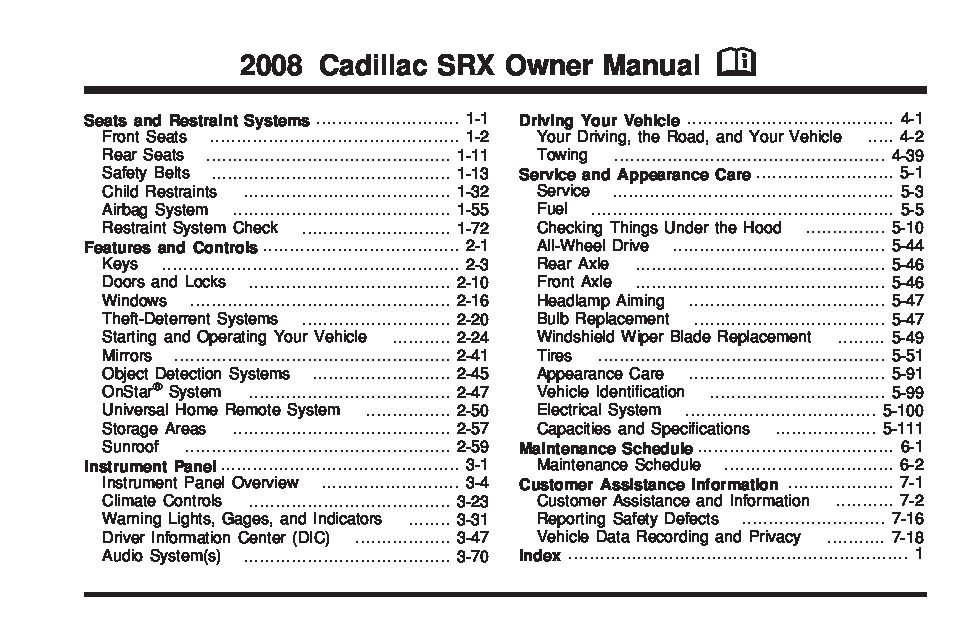 2008 cadillac srx owners manual just give me the damn manual rh justgivemethedamnmanual com 2008 cadillac srx service manual 2008 cadillac srx service manual