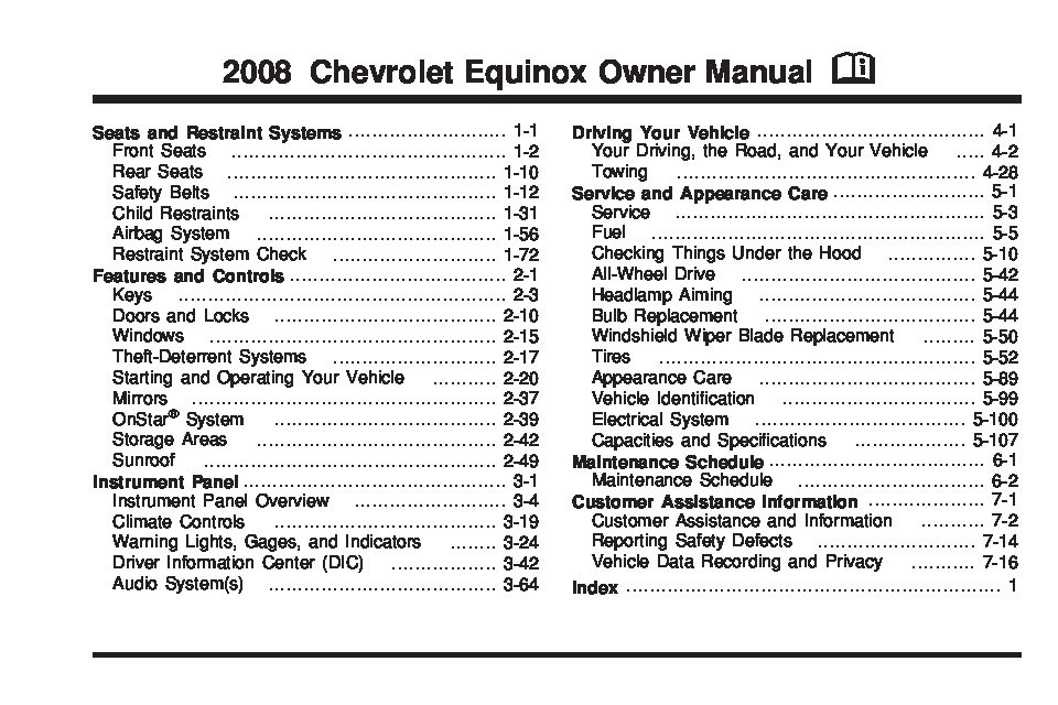 chevy equinox owners manual 2008