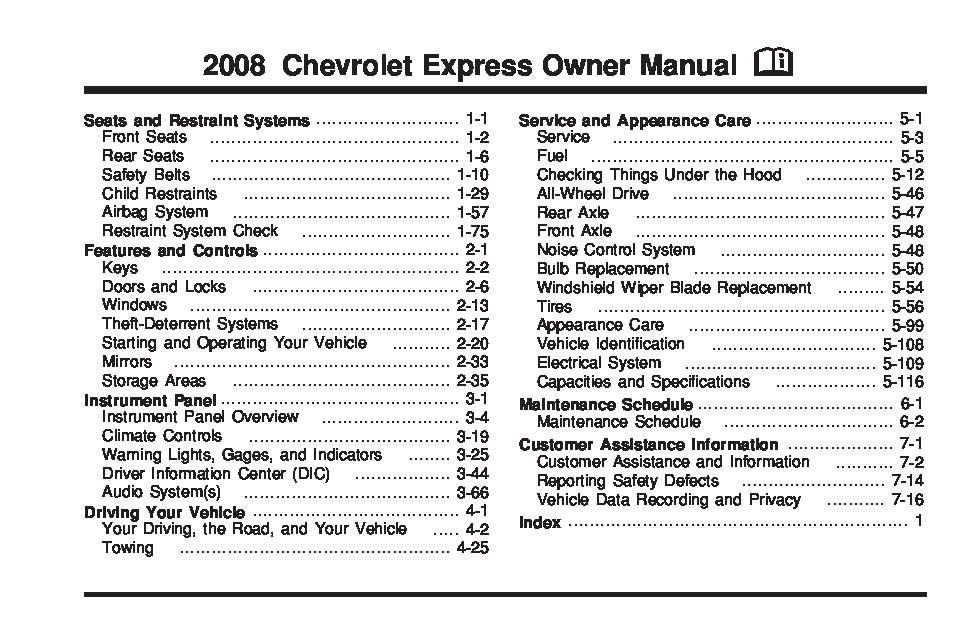 2008 chevrolet express owners manual just give me the damn manual rh justgivemethedamnmanual com