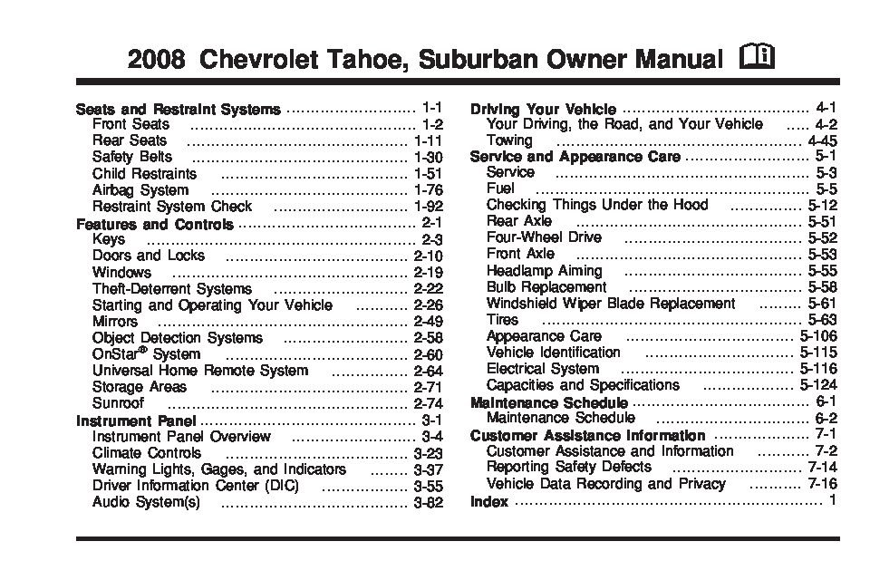 2008 Chevrolet Suburban Owners Manual Just Give Me The Damn Manual