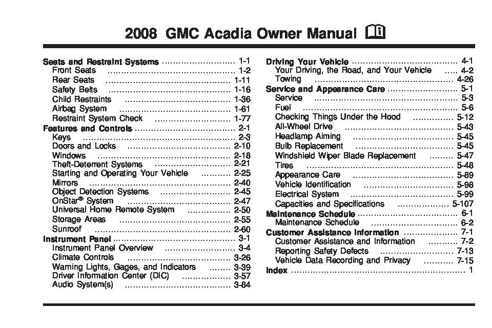 2008 Gmc Acadia Owners Manual Just Give Me The Damn Manual