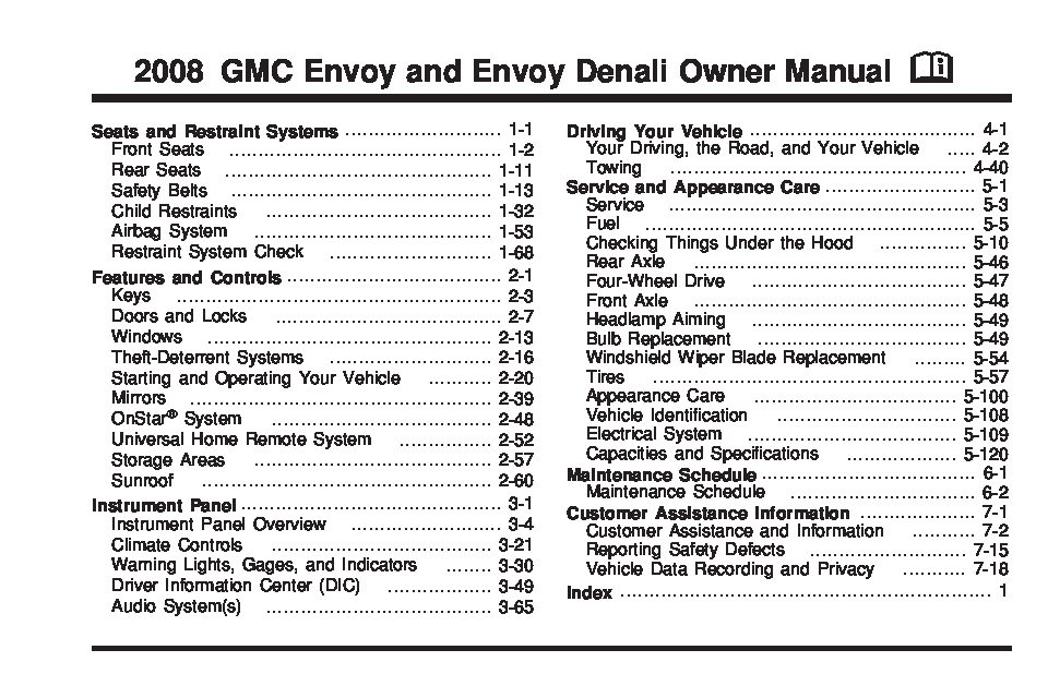 2008 gmc envoy owners manual just give me the damn manual rh justgivemethedamnmanual com manual gmc envoy 2006 manual gmc envoy 2004