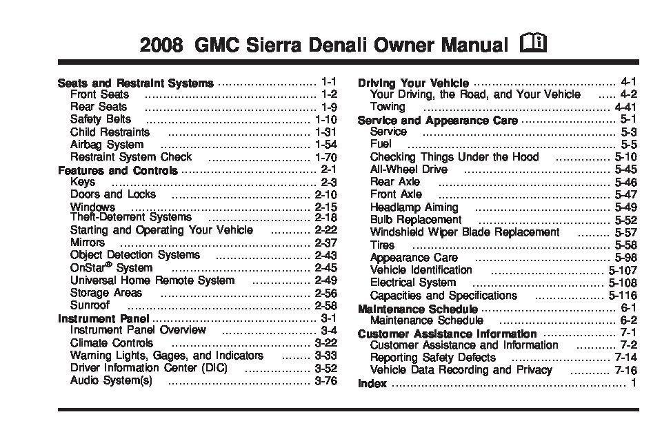 gmc seirra owners manual