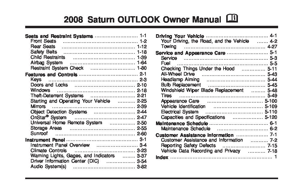 2008 saturn outlook owners manual just give me the damn manual rh justgivemethedamnmanual com 2008 Saturn Outlook XR Interior 2008 saturn outlook service manual free