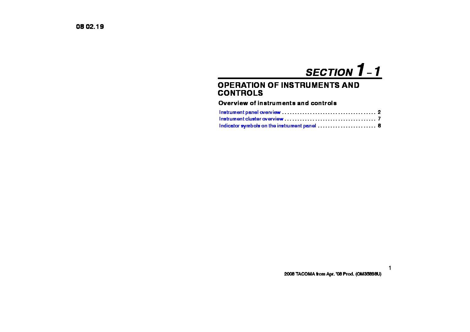 2008 Toyota Tacoma Owners Manual