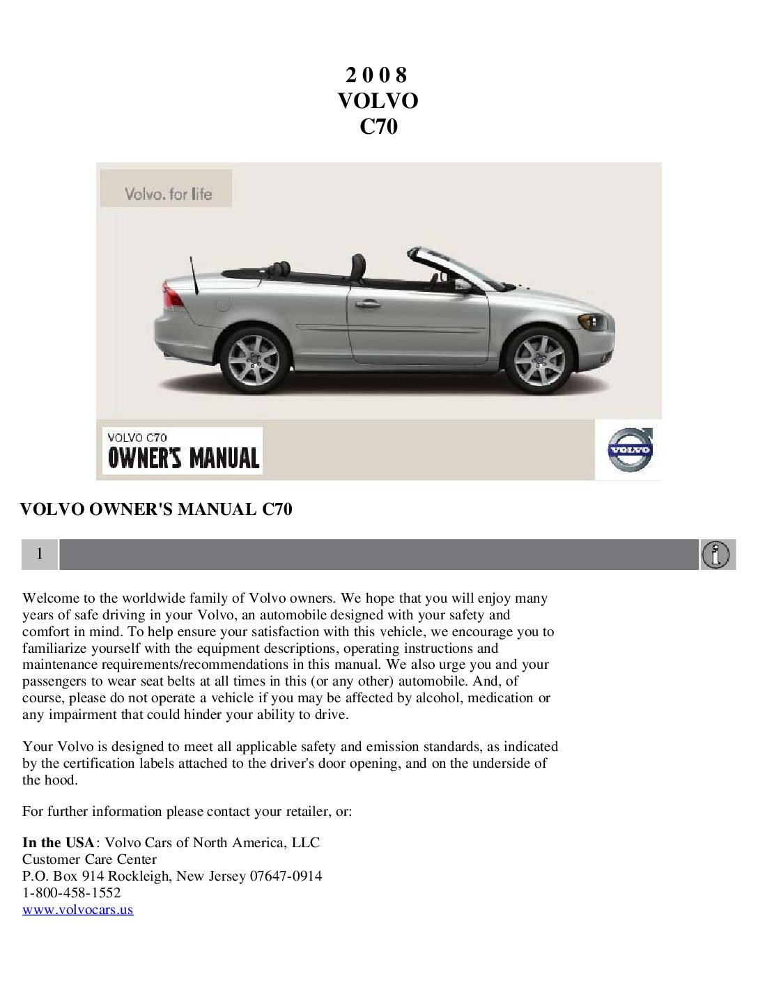2008 volvo c70 owners manual just give me the damn manual rh justgivemethedamnmanual com 2004 volvo c70 owners manual volvo c70 service manual pdf