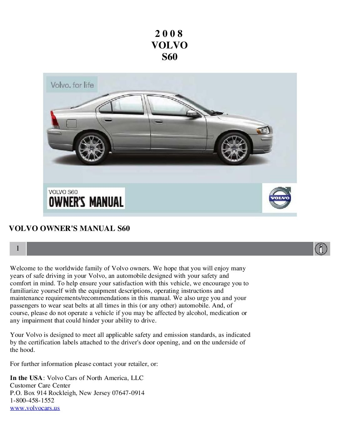 2008 volvo s60 owners manual just give me the damn manual rh justgivemethedamnmanual com 2011 Volvo S60 Blue Book 2011 S80