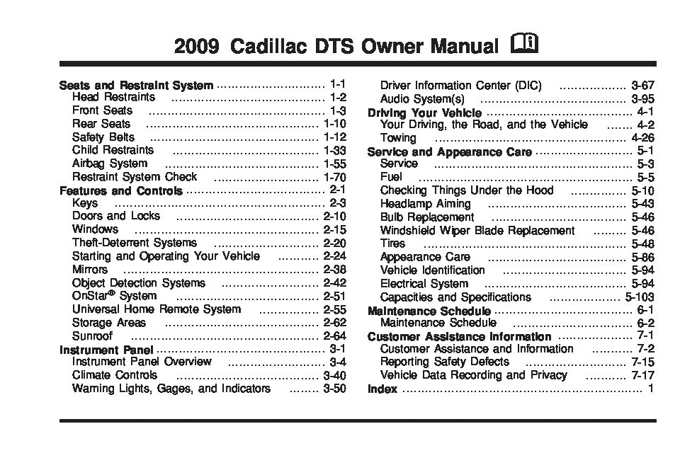 2009 Cadillac Dts Owners Manual Just Give Me The Damn Manual