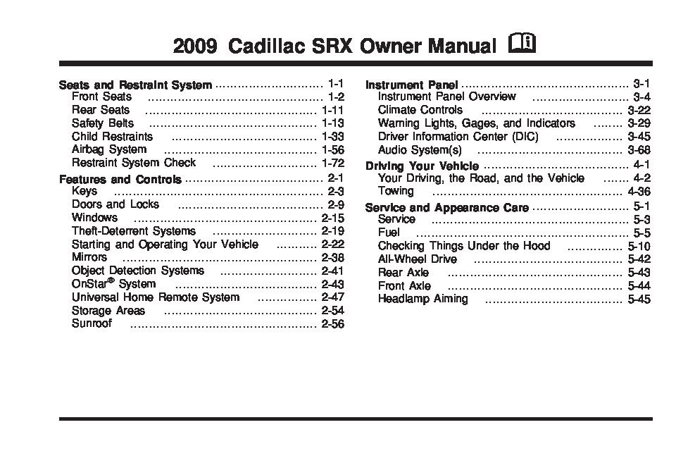 2009 cadillac srx owners manual just give me the damn manual rh justgivemethedamnmanual com 2007 cadillac srx owners manual pdf 2006 cadillac srx owners manual