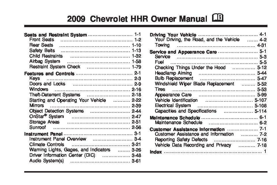 2009 chevrolet hhr owners manual just give me the damn manual rh justgivemethedamnmanual com chevrolet hhr 2007 owners manual 2007 hhr owners manual pdf