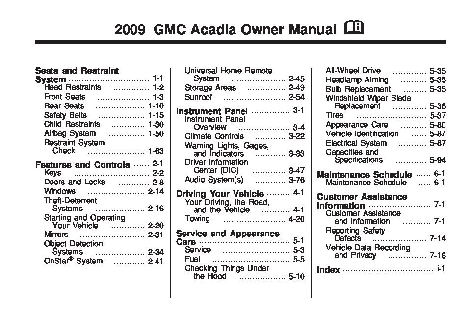 2009 gmc acadia owners manual just give me the damn manual rh justgivemethedamnmanual com 2009 gmc acadia repair manual 2009 gmc acadia service manual pdf