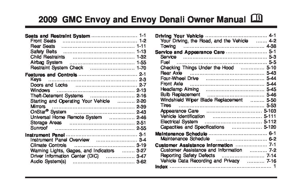 2009 gmc envoy owners manual just give me the damn manual rh justgivemethedamnmanual com Buick Envoy Chevy Envoy
