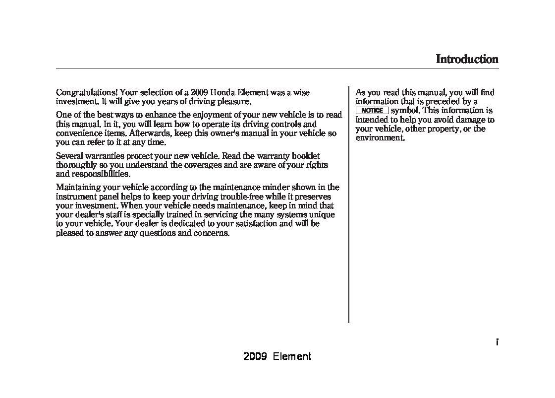 honda element owners manual