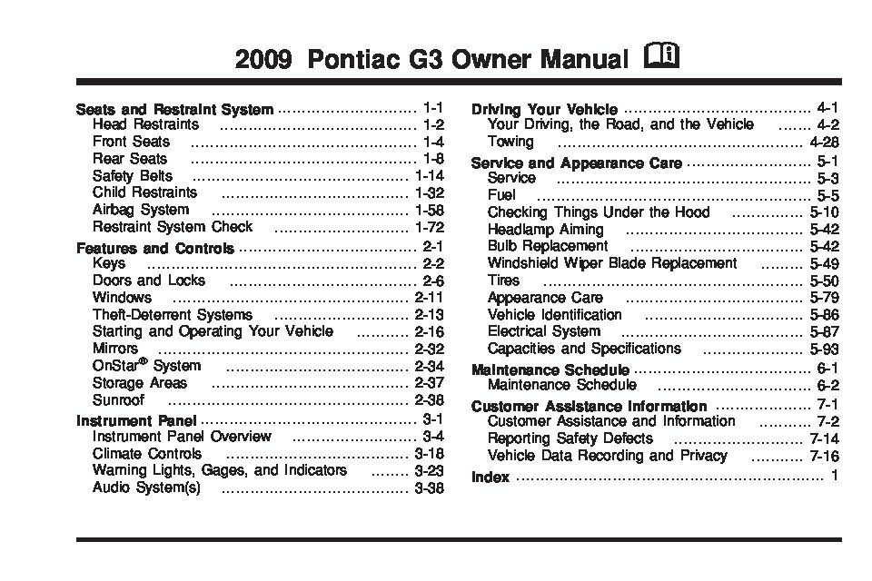 2009 pontiac g3 owners manual just give me the damn manual rh justgivemethedamnmanual com Anne Helm GM Service Repair Manuals