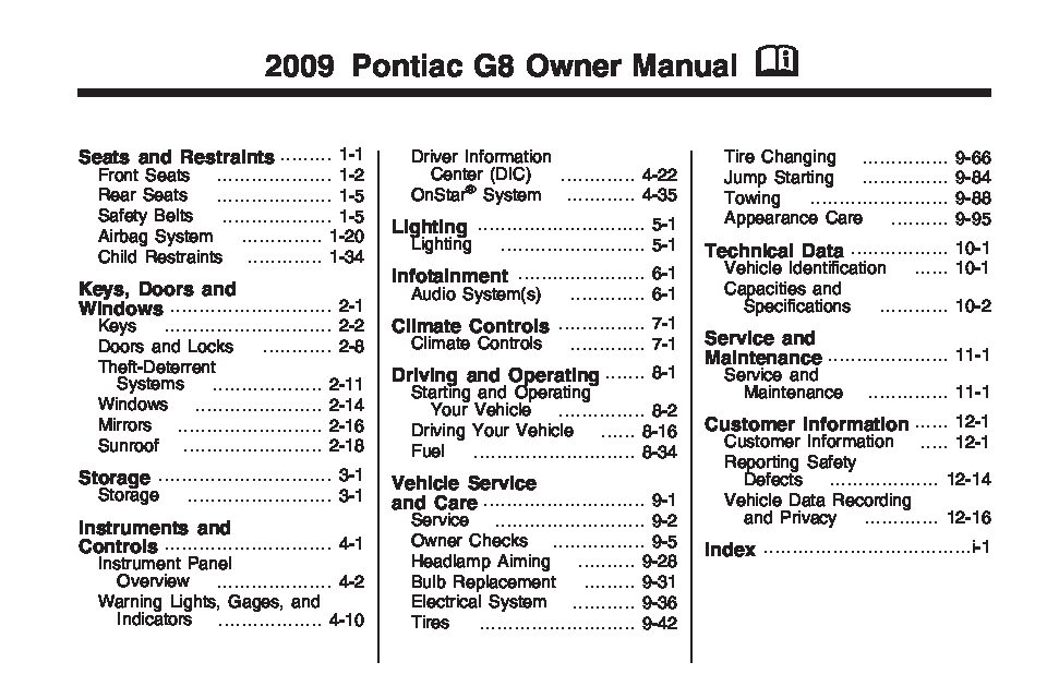 2009 pontiac g8 owners manual just give me the damn manual rh justgivemethedamnmanual com Pontiac G8 Pricing 2008 pontiac g8 owner's manual