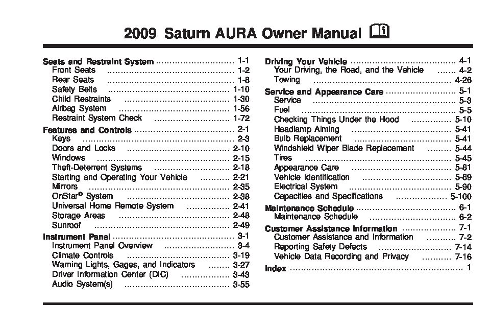 2009 Saturn Aura Owners Manual Just Give Me The Damn Manual