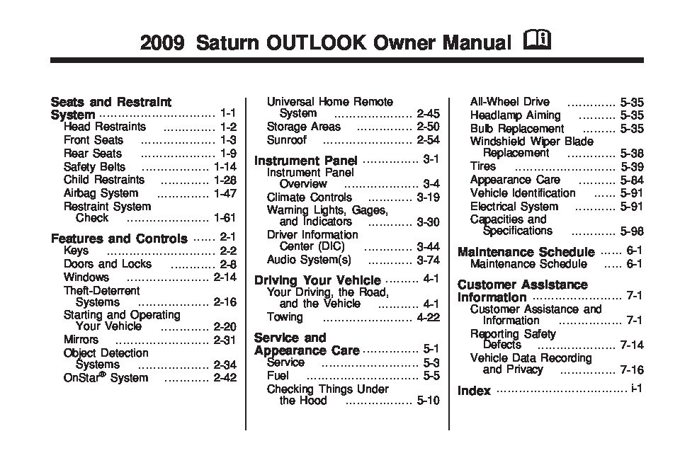 2009 saturn outlook owners manual just give me the damn manual rh justgivemethedamnmanual com 2009 saturn outlook owner's manual 2009 saturn outlook owner's manual pdf