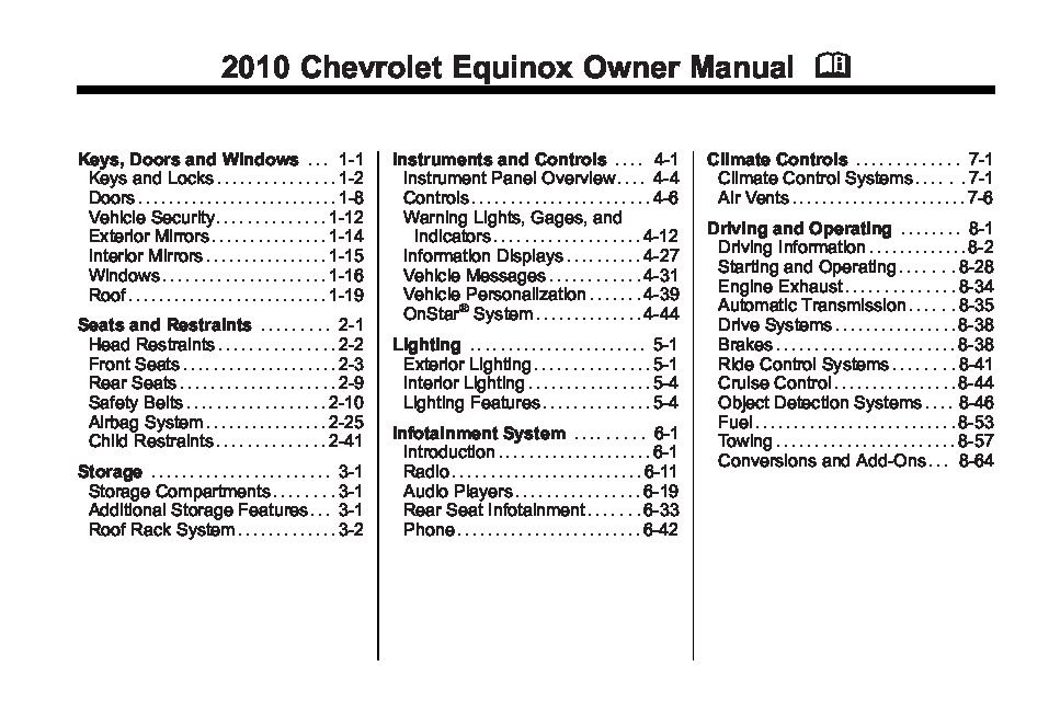 2010 chevrolet equinox owners manual just give me the damn manual. Black Bedroom Furniture Sets. Home Design Ideas