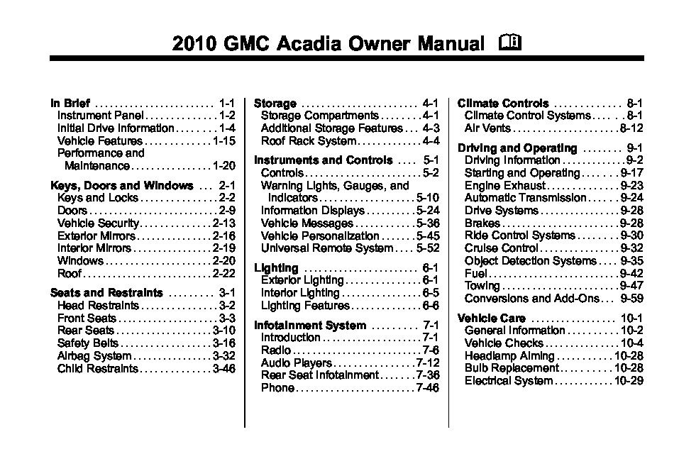 gmc acadia owners manual  give   damn manual