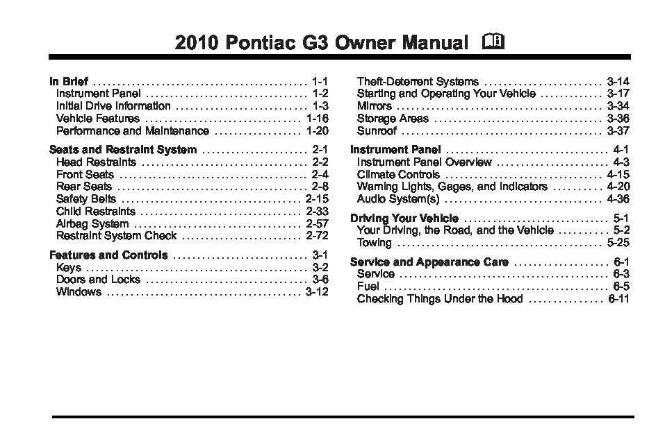 2010 pontiac g3 owners manual just give me the damn manual rh justgivemethedamnmanual com Knight Helm Heather Helm