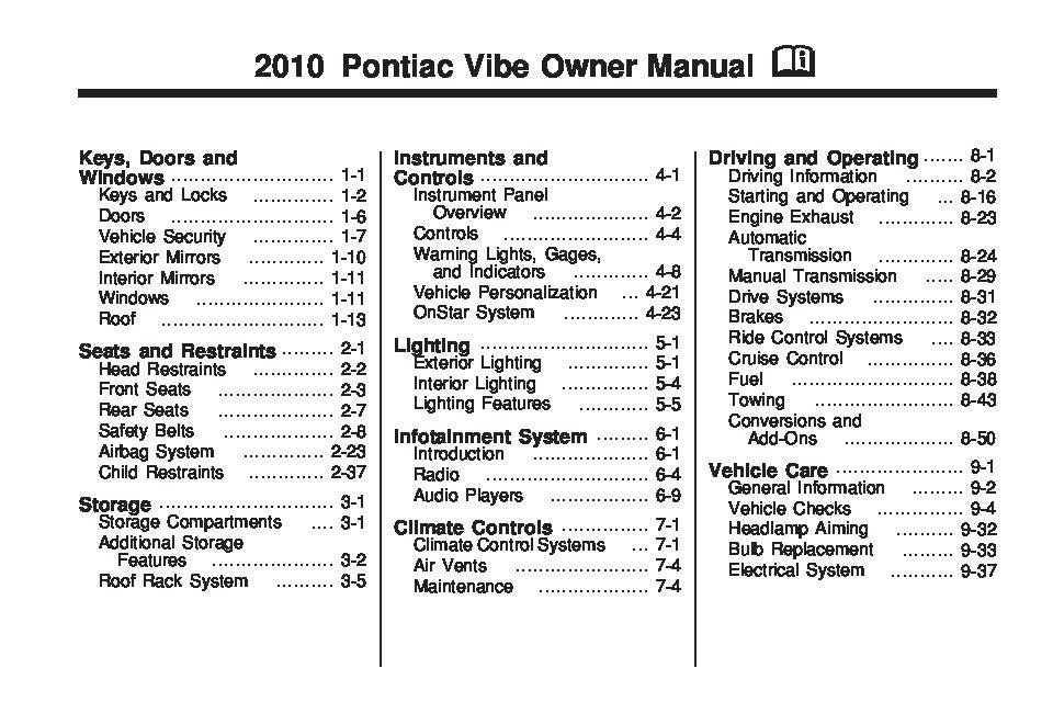 2010 Pontiac Vibe Owner S Manual