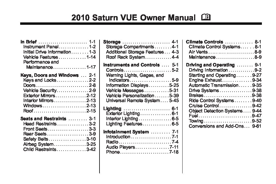 2010 saturn vue owners manual just give me the damn manual rh justgivemethedamnmanual com 2015 Saturn Vue 2015 Saturn Vue
