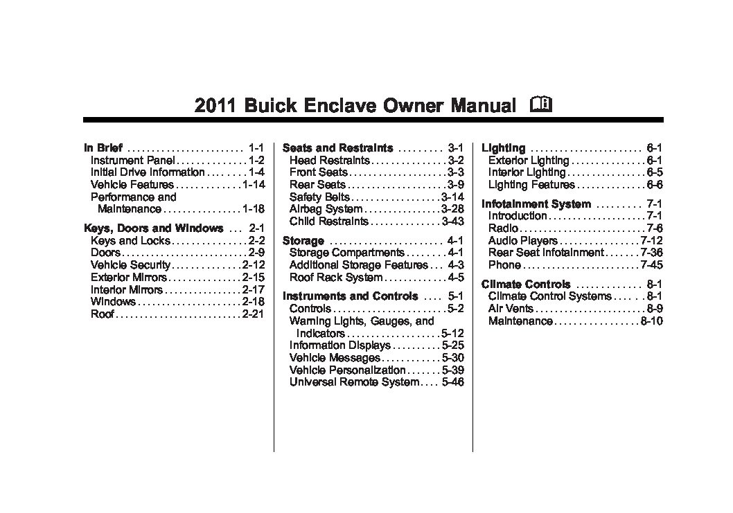 2014 buick enclave owners manual