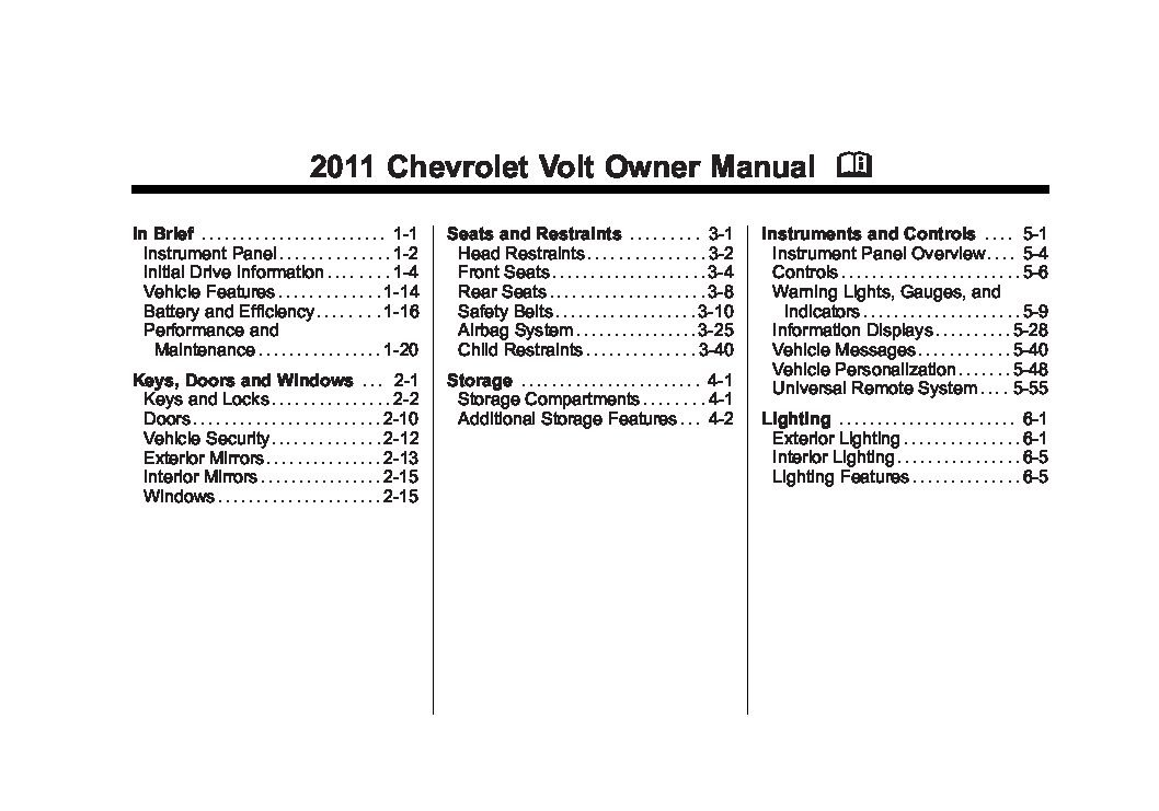2011 Chevrolet Volt Owners Manual Just Give Me The Damn Manual