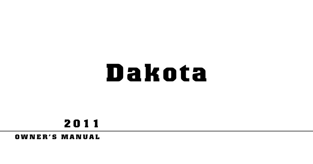 2011 Dodge Dakota Owners Manual
