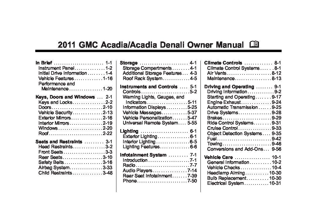 2011 gmc acadia owners manual just give me the damn manual rh justgivemethedamnmanual com 2011 gmc acadia manual 2010 acadia manual