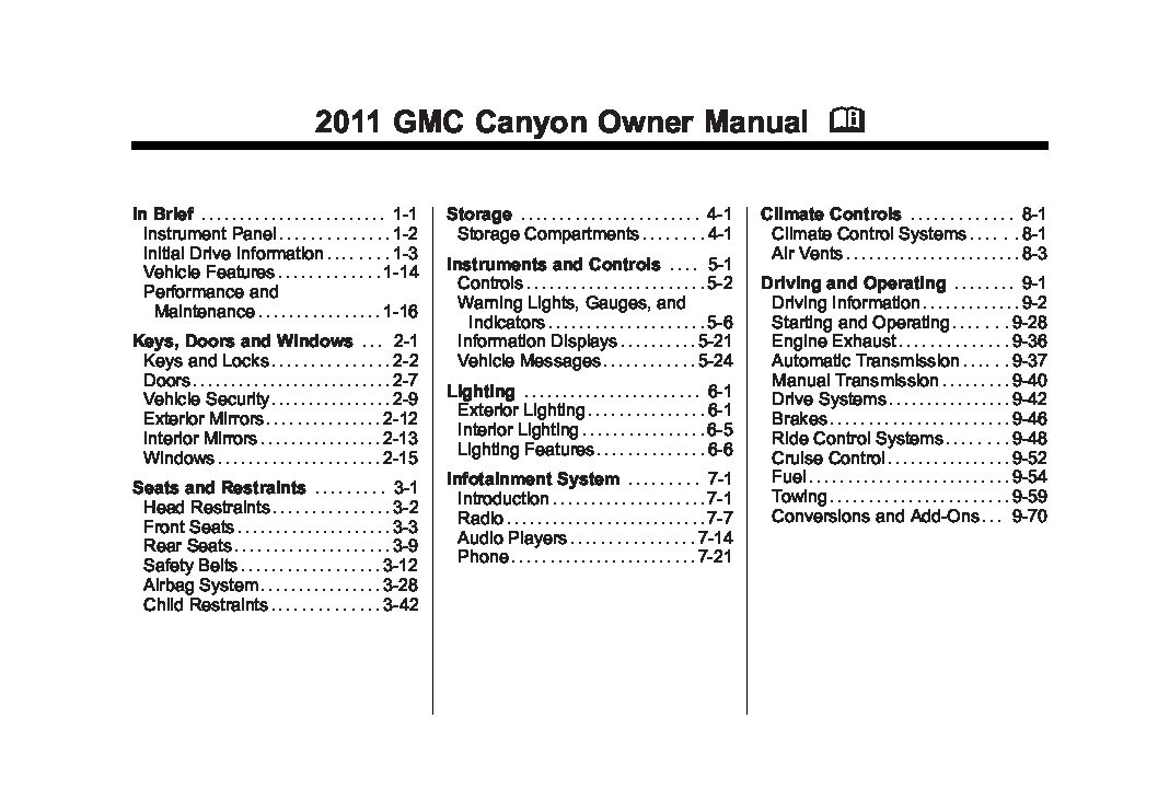 2011 gmc canyon owners manual just give me the damn manual rh justgivemethedamnmanual com 2006 gmc canyon service manual 2006 canyon owners manual