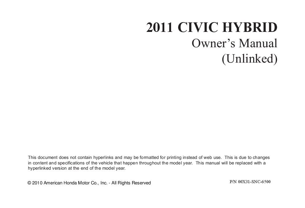2011 honda civic hybrid owners manual just give me the damn manual rh justgivemethedamnmanual com honda civic si 2011 owners manual honda civic si 2011 owners manual