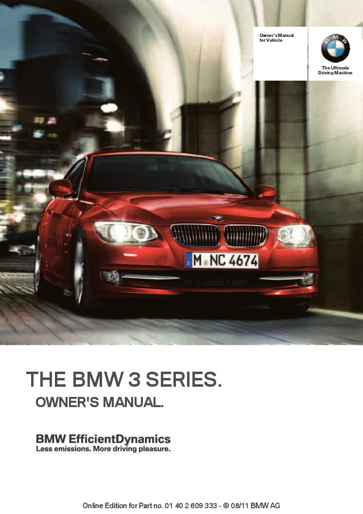 2012 bmw 3-series coupe-conv-idrive Owner's Manual