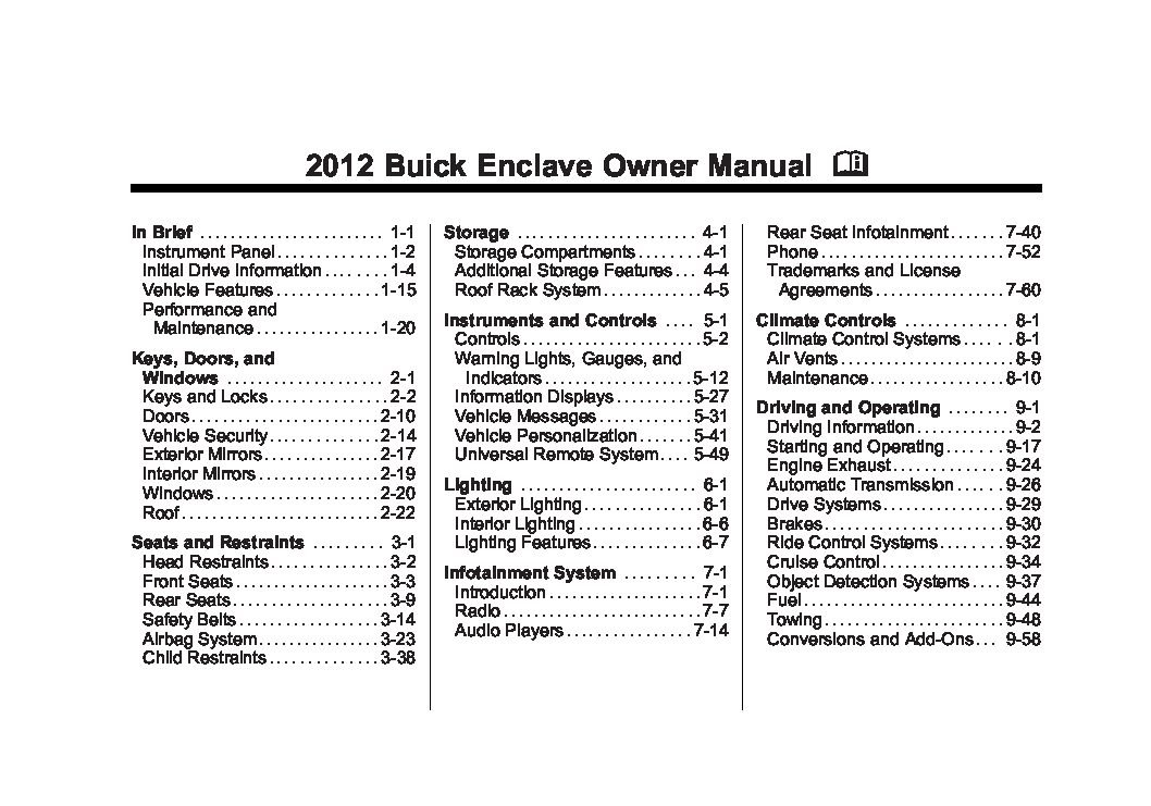 2012 buick enclave owners manual just give me the damn manual rh justgivemethedamnmanual com 2008 buick enclave service manual pdf 2008 buick enclave cxl owners manual