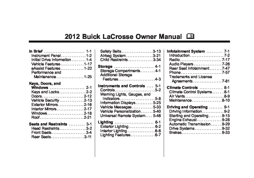 2012 Buick Lacrosse Owners Manual Just Give Me The Damn Manual