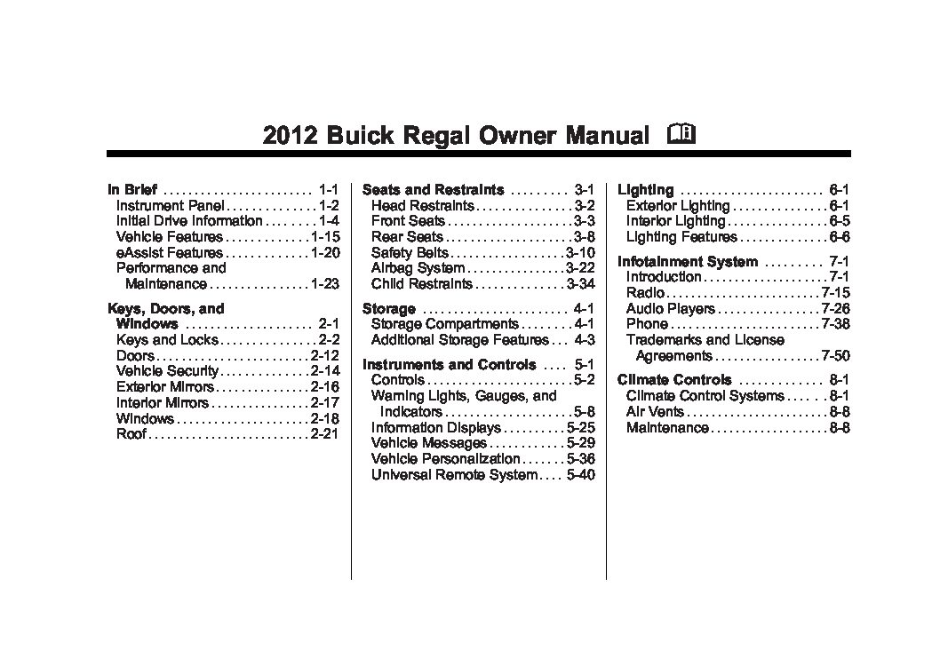 2012 buick regal owners manual just give me the damn manual rh justgivemethedamnmanual com 2003 buick regal repair manual pdf 2003 buick regal repair manual
