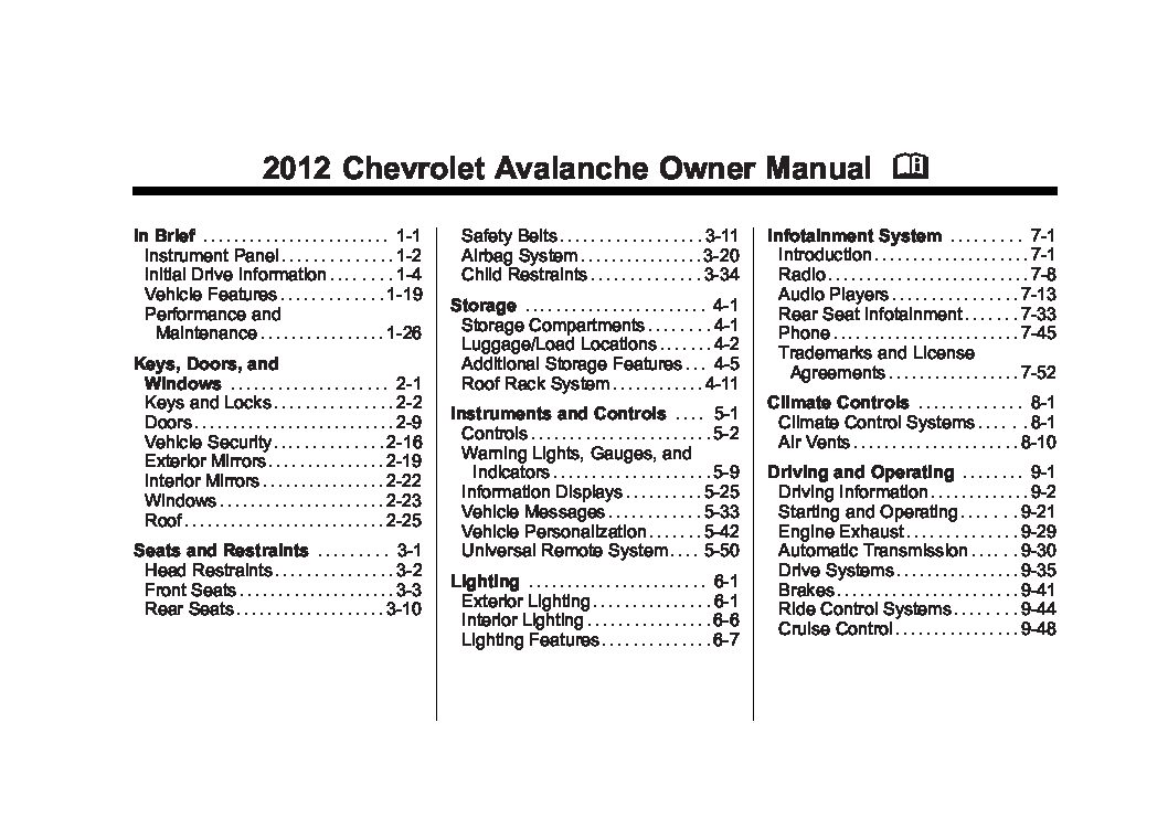 2012 chevrolet avalanche owners manual just give me the damn manual rh justgivemethedamnmanual com 2006 Chevy Avalanche LTZ 2006 Chevy Avalanche LTZ