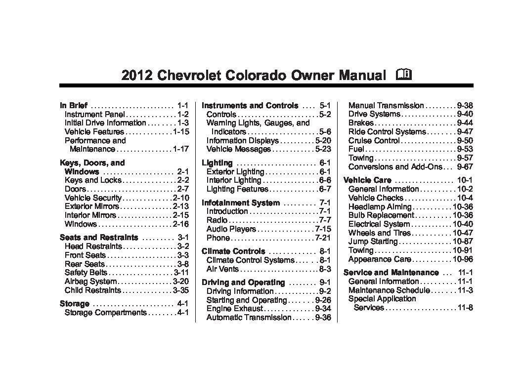2012 chevrolet colorado owners manual just give me the damn manual rh justgivemethedamnmanual com 2018 Chevrolet Silverado Chevrolet Avalanche