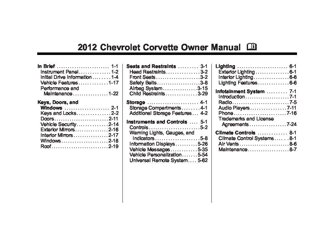 2012 chevrolet corvette owners manual just give me the damn manual rh justgivemethedamnmanual com 2005 Corvette 2015 corvette owners manual pdf download