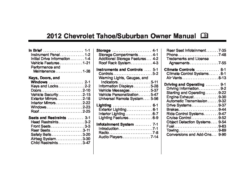 2012 chevrolet suburban owners manual just give me the damn manual rh justgivemethedamnmanual com 2011 chevy suburban 1500 owner's manual 2012 suburban owners manual